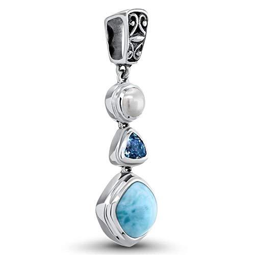 Makluce 3-IN-1 Larimar Stein Aguamarina, cadena de piedras preciosas con cristal azul de la piedra de mar, anillo de joyería alta hecha de 925 piedra de plata esterlina larimar El juego contie