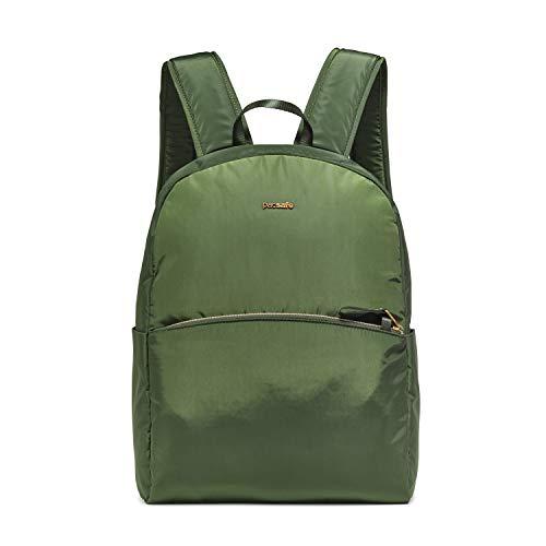 Pacsafe Stylesafe Backpack, großer Daypack für Damen, Anti-Diebstahl Tasche, Schulterrucksack mit Diebstahlschutz, Sicherheits-Features - 12 Liter, Uni, Grün/Kombu Green