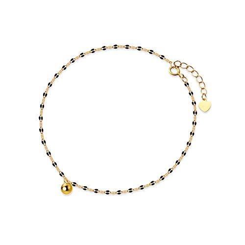 XKMY Tobillera para mujer, estilo coreano, minimalista, de plata de ley 925, con cuentas doradas, brillantes, para mujer, para fiestas de playa, accesorios de joyería (color: oro)