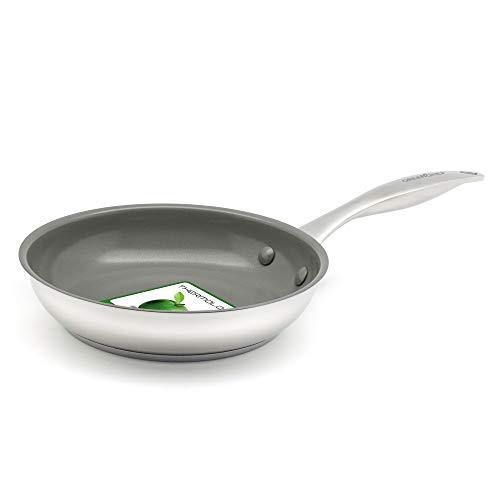 GreenChef Bratpfanne Edelstahl Induktionspfanne Keramik Beschichtet, Toxinfreies Kochen, Ofen- und Spülmaschinengeeignet - 20 cm, Silber