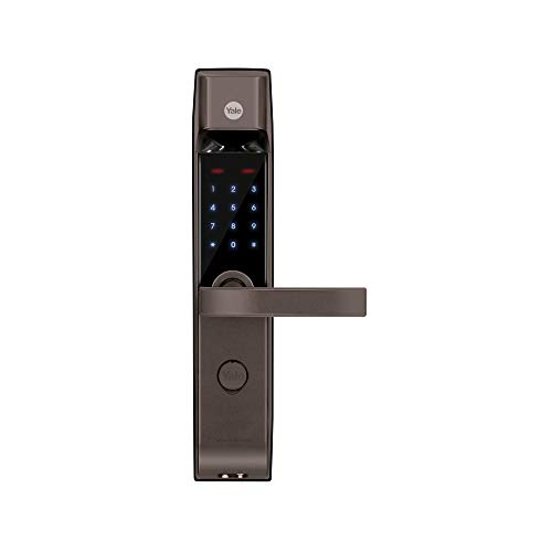 Yale YDM 4115-A, Smart Door Lock with Biometric, Pincode, Mechanical Keys & App Enabled Access, Bluetooth & Wi-Fi Optional for Home & Office, Color- Brown
