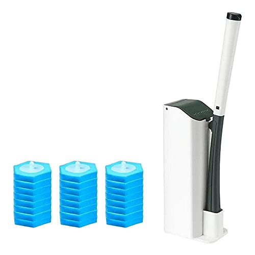JLKDF Kit de Varita de Inodoro, Juego de escobillas de Inodoro Desechables con 24 Cabezales y Base de Recarga de Limpieza Desechables