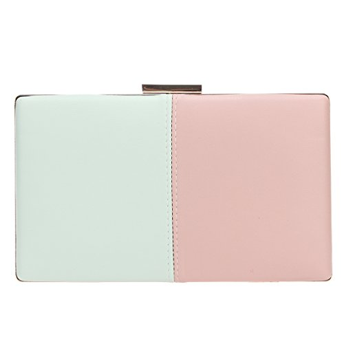 Bonjanvye Stitching Clutch Bag Party Prom Wedding Purses and Handbags Green and Pink