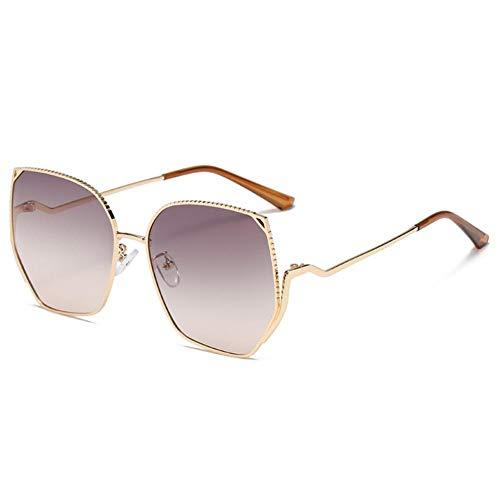 Gafas De Sol Unisex para Hombres Y Mujers Polarizadas Protección Uv400 Clásico Vintage Moda Sunglasses Lentes Gris Degradado con Montura Dorada