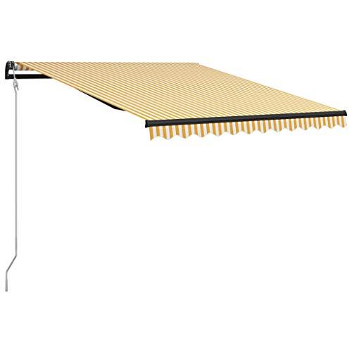 vidaXL Markise Einziehbar mit Windsensor LED Wasserabweisend Balkonmarkise Gelenkarmmarkise Sonnenschutz Terrasse Balkon Aluminium 300x250cm Gelb Weiß
