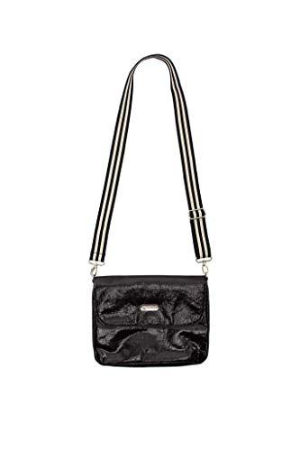 brasi&brasi Bolsa con diseño de rayas y flap&stripe, tamaño mediano, color negro