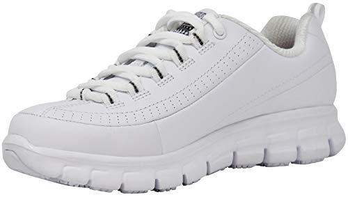 Skechers Women's Work Sure Track Trickel Slip Resistant Work Shoe, White, 8.5 M US