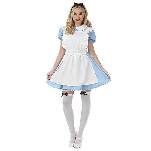 Fun Shack Disfraz Tradicional de Alicia para Mujer. Vestido Azul de Personaje de Cuento de Hadas para Adulto, Talla L