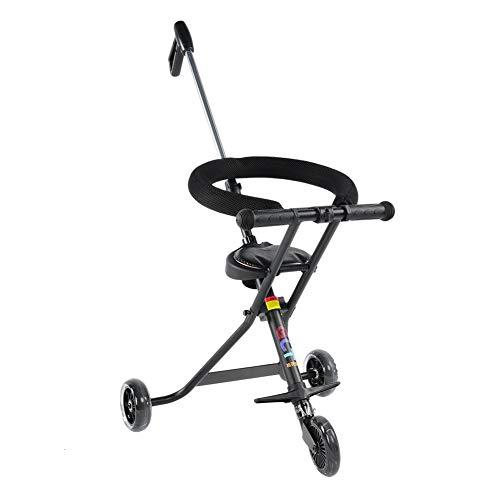 EBTOOLS Draagbare driewieler lichte kinderwagen combikinderwagen opvouwbare baby trike met stuurbare duwstang voor reis-zwart, belastbaarheid: 30 kg
