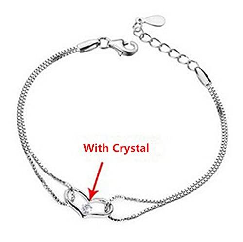 Pulsera Pulseras Y Brazaletes De Cristal De Corazón De Plata De Ley 925 para Mujer, Niña, Regalo De San Valentín con Cristal