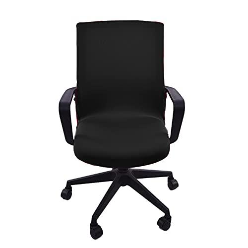 Funda para silla de oficina, funda extraíble, funda giratoria de estilo moderno, elástica, para silla giratoria de oficina con reposabrazos (silla no incluida), color negro (L)