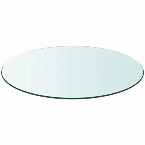 Cikonielf - Bandeja de mesa redonda de cristal templado para mesas de comedor, mesas bajas, mesas de jardín, 300 x 300 x 8 mm