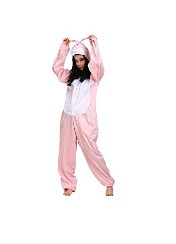 Costumi Animali per Adulti Unisex Pigiama Fancy Dress Outfit Cosplay Onesies (Coniglio Rosa)