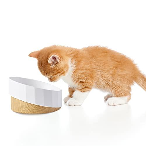 Cuencos elevados para gatos, comedero elevado, individual de Qucopre, cuenco de diseño antideslizante, protege la columna del gato, libre de estrés, cuenco inclinado