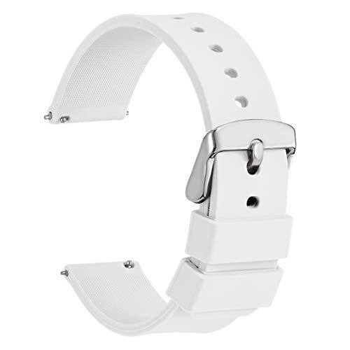 WOCCI 14mm Cinturino Orologio in Silicone, Sgancio Rapido Ricambio (Bianco)