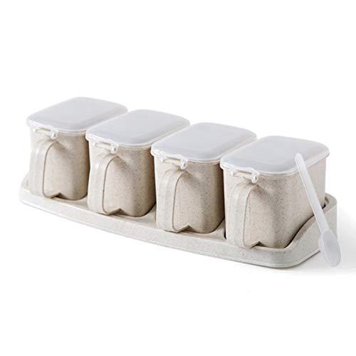 GEEN BAND Opbergdozen Zout Kruidenrek Set Gezond Keuken Kruidenpot Tarwe stro Kruidenpot Huishoudelijke Voedsel Peper Container