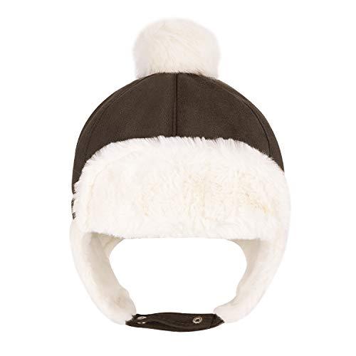 Sombrero unisex para niño, gorro ruso deportivo, esquí, snowboard, equitación, pasamontañas de piel sintética, sombrero, sombrero de piel sintética café 56 cm