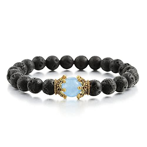 Crown Beaded Charm Bracelets Men 8mm Natural Stone Lava Black Matte Tiger Eye Beads Pulsera para Mujeres Yoga Jewelry Gift Friends