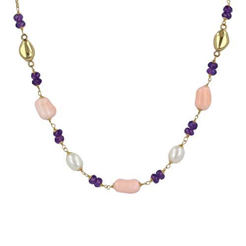 Gioiello Italiano - Collana lunga'Joia' in oro giallo 18kt con corallo rosa e perle naturali, lunghezza 90cm, da donna