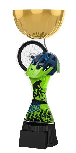 Trophy Monster Placa grabada de copa de oro para bicicleta de montaña | Increíble valor | para clubes y presentaciones | Hecho de metal y acrílico impreso (compra en 3 tamaños) (210 mm)