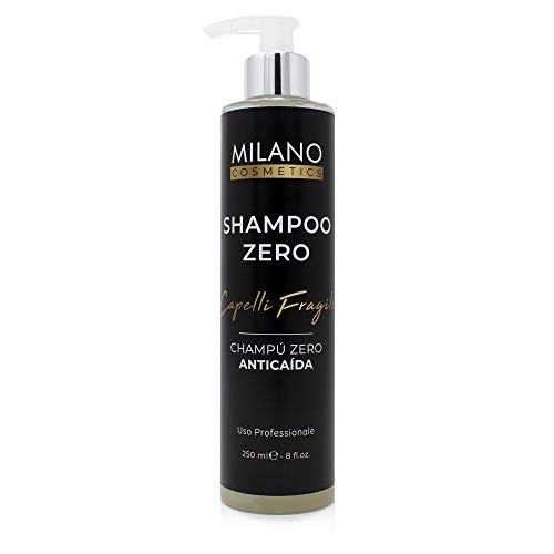 Milano Champú Zero Anticaída 250 ml champu sin sulfatos ni parabenos ni siliconas ni minerales ni sales shampoo para pelo cabello natural sensitive profesional champu cero