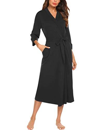 MAXMODA Kimono-Bademantel für Damen, Baumwolle, lang, gestrickt, weich, Nachtwäsche, V-Ausschnitt, Damen-Loungewear, S-3XL - Schwarz - Small