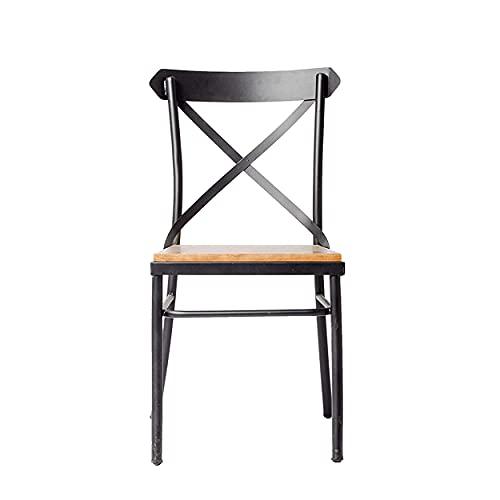 ADDECOR - Silla de Diseño Nebraska - Fabricada en Hierro y Madera Maciza Medidas 85 × 40 × 46 cm - Color Negro - Silla Nórdica - Muebles Auxiliares - Ideal Ambientes Loft
