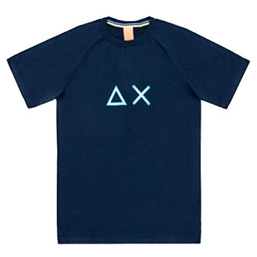 SUN68 AX T Shirt Mezza Manica Uomo T30132 Blu (L)