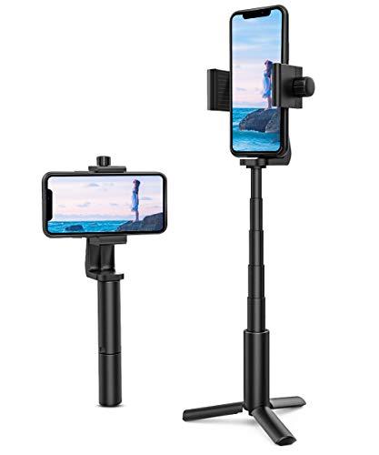 MoKo - Trípode para teléfono y cámara, trípode para selfie, ajustable, para teléfono móvil, trípode, ligero, extensible, soporte para teléfono móvil, soporte para teléfono hasta 6 pulgadas, color negro