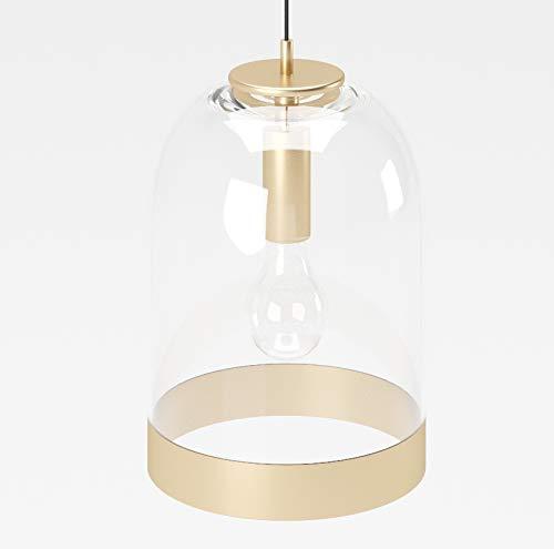 PLAYBOY Hängelampe mit transparenten Lampenschirm aus Glas und goldenem Rand, 28x28cm, hängende Lampe, Pendelleuchte, Pendellampe, Glaslampe, Gold, Retro-Design, Club-Stil, Esszimmerlampe
