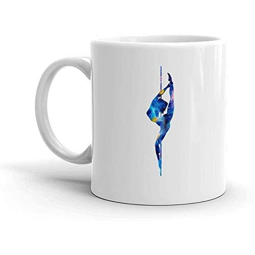 Taza de café divertida - Taza de café de cerámica con silueta de bailarina de pole dance para mujer, blanca
