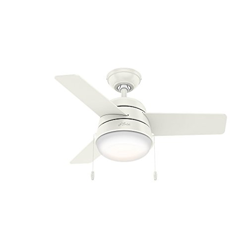 Hunter Indoor Ceiling Fan with LED Light and pull chain control - Aker 36 inch, White, 59301