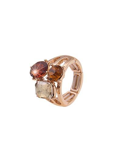 Leslii Anillo de mujer con piedras de cristal y piedra de cristal, color marrón, joya de cristal, tamaño extensible en color marrón y dorado