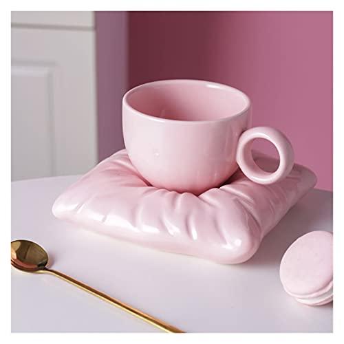 WLCO Tazas de café de cerámica Modernas Creativas de Uso múltiple con Placas de Formas de Almohadas Conjunto de té Personalizado Copa de té para el hogar Accesorios de Mesa Decoración
