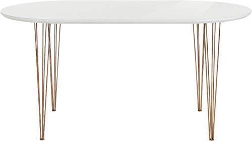 Loft 24 A/S Oval Esstisch Esszimmertisch Modern Esszimmer Küche Tisch MDF Metallbeine weiß Hochglanz (160 x 90 x 75 cm)
