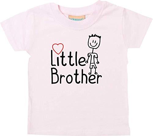 Shirtinstyle Bebé Camisa,Little Brother,Familia Verwandschaft, Liebe, Alegría, Dankbarkeit, Bebé, Niño, Niños - Rosa, 0-6 Monate