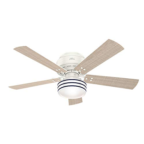 Hunter Indoor / Outdoor Low Profile Ceiling Fan with LED Light and remote control - Cedar Key 52 inch, White, 55079