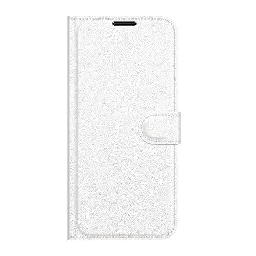 zl one Compatível com/capa de celular Moto One Power/P30 Note capa carteira com compartimentos para cartão de proteção em couro PU (branca)