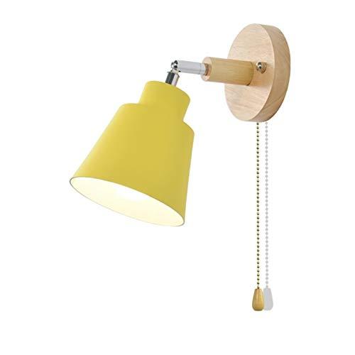 GSHIHEN Lampade A Parete Luce Parete Comodino Riparo da Parete Interna for corridoio Camera 4 Colori con Zip Passare Liberamente Girevole Illuminazione (Lampshade Color : Yellow)