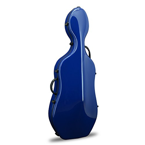 Crossrock Fiberglass Cello 4/4 Full Size Hardshell Case with Wheels in Navy Blue(CRF1000CEFNVBL)