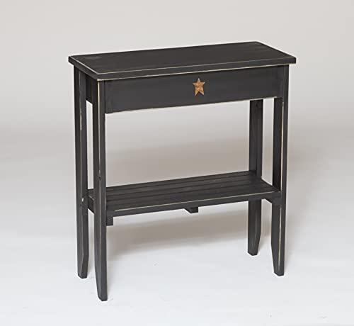 Primitive Pine End Table, Black