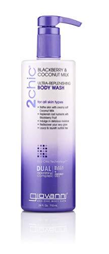 GIOVANNI 2chic Ultra Replenishing Body Wash, 24 oz. Blackberry & Coconut Milk - Hydrating Daily Moisturizing Cleanser