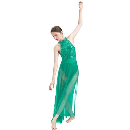 ODASDO Women Lyrical Dance Dress Modern Contemporary Dancewear Cut Out Front Mesh Tulle Skirt Backless Tank Leotard