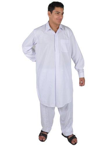 Egypt Bazar Zweiteiliges Herren-Salwar-Kameez- Set im Pakistani-Stil, Farbe: weiß (56-58 (XL))