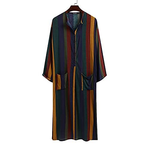 LZJDS Robe pour Hommes Pyjama en Coton À Manches Longues Bouton Col en V Chemise De Nuit Rayée Rétro S À XXXL,Jaune,3XL