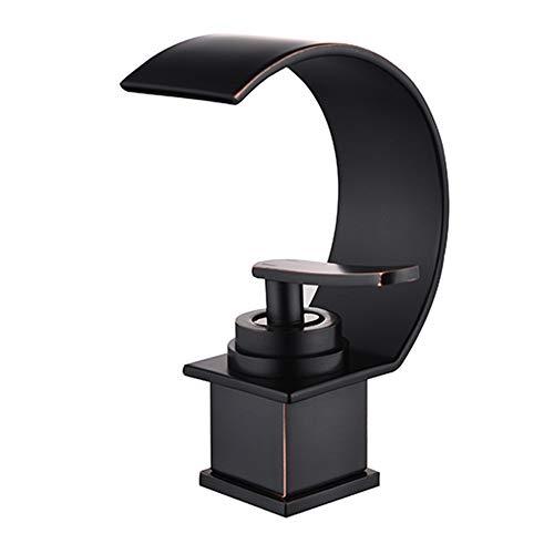 JRUIA Grifo monomando para lavabo, diseño cascada, color negro