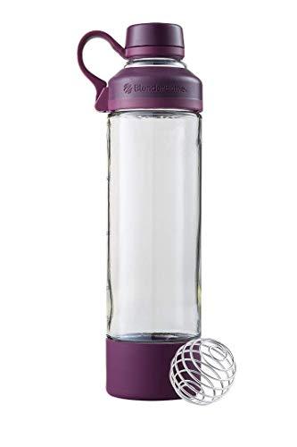 BlenderBottle Mantra Glas Trinkflasche, mit Trinköffnung aus Glas und BlenderBall, geeignet als Yogaflasche, Wasserflasche und Protein Shaker, BPA frei, skaliert bis 530 ml, 600 ml, lila / purple