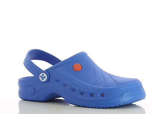 Zuecos de seguridad para mujer – Zapatos de seguridad ligeros para hombres, ideales para hospital, cocina o jardín, antideslizante y absorción de golpes, UK 10,5/11 EU 45/46, Sonic Electric Blue
