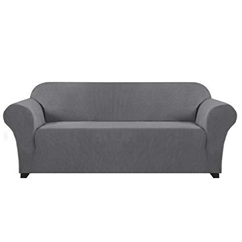 Stylish Lycra Jacquard Sofa Cover for Living Room High Stretch Sofa Cover/Protector Furniture Protector Cover for Sofa and Couch Spandex Jacquard Small Checks (Sofa, 3 Seater, Grey)
