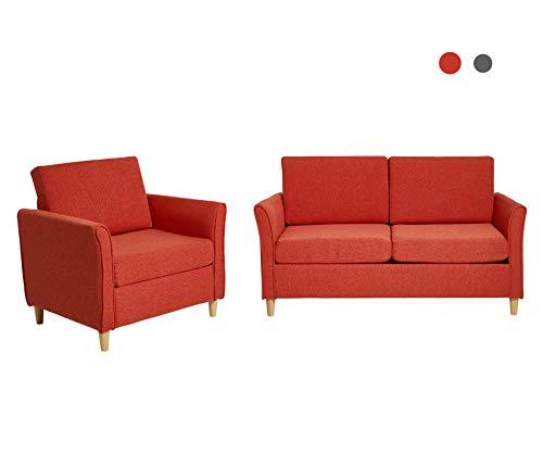 Laxllent Polstergarnitur Modern Sofa Orange Couch,Leinenartig,Holzfüße, für Wohnzimmer Empfangshaller,80/140Lx71Bx81HCM,2-Sitzerx1+Sesselx1